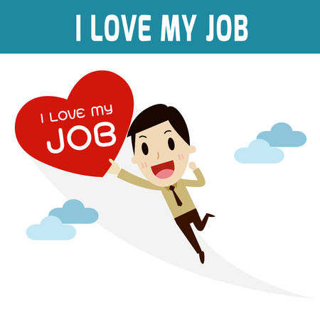 asian business people: i love my job.happy businessman holding heart fly skyConcept of business,businessman or asian, european people character.Flat icon modern design style vector illustration concept.