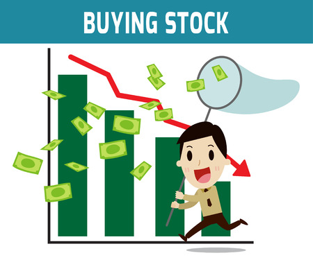 asian business people: buying stock. Successful business people from playing the stockConcept of business,time is money.people or asian,european cute character.Flat icon modern design style vector illustration concept.