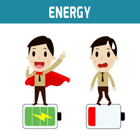 エネルギー。ビジネスマンは低バッテリとビジネス、人々 や、アジア、ヨーロッパのかわいいキャラクターの完全 batteryConcept です。フラット アイ