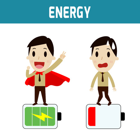 invigorate: energy. businessmen low battery and full batteryConcept of business,people or asian,european cute character.Flat icon modern design style vector illustration concept.