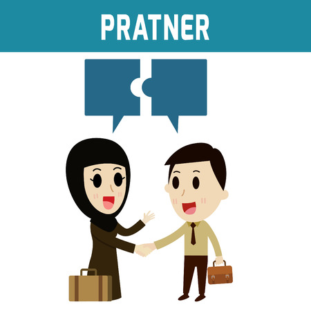 middle joint: partner. arab businessman shaking hand arab womanConcept of business,people or Middle Eas, islam, cute character.Flat icon modern design style vector illustration concept. Illustration