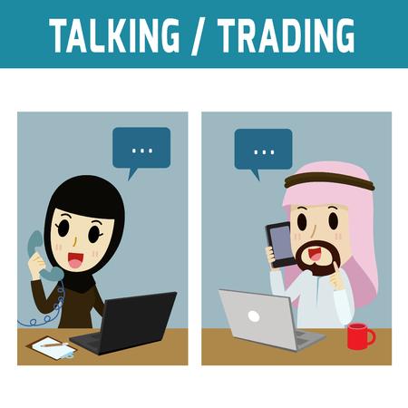 hombre arabe: hablando. �rabe llamada telef�nica empresario womanConcept �rabe de negocios, personas o Eas Media, musulm�n, lindo icono character.Flat moderno estilo de dise�o ilustraci�n vectorial concepto.