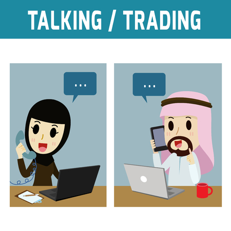 man office: talking. arab businessman call phone arab womanConcept of business,people or Middle Eas, muslim, cute character.Flat icon modern design style vector illustration concept.