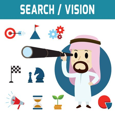 telescopic: search. arab businessman standing and holding telescopic Concept of business,people or Middle Eas, muslim, cute character.Flat icon modern design style vector illustration concept.