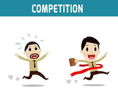 asian business people: competition. the 2 businessmen racing to the finish line.Concept of business,people or asian,european cute character.Flat icon modern design style vector illustration concept.
