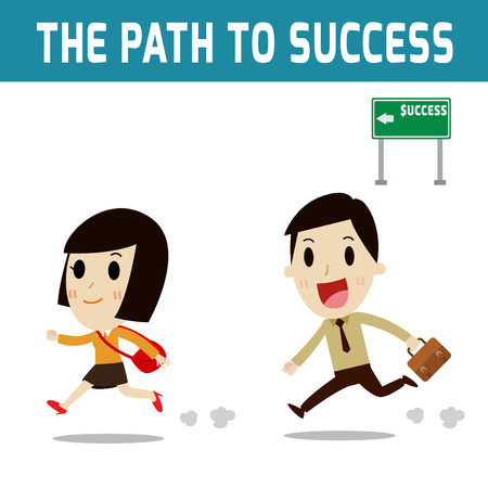 asian business woman: success. Businessman and woman running  go on the path to success.Concept of business,people or asian,european cute character.Flat icon modern design style vector illustration concept.