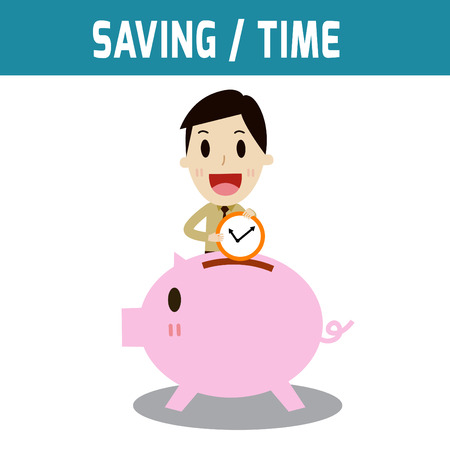 asian business: saving. businessman put time in the piggy bank.Concept of business,time is money.people or asian,european cute character.Flat icon modern design style vector illustration concept.