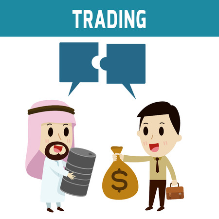 asian businessman: trading. arab businessman dealing with european peopleConcept of business,people or Middle Eas, asian, cute character.Flat icon modern design style vector illustration concept. Illustration