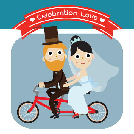 wedding bride: groom and bride character wedding invitation card templatemodern design flat icon for marriage.isolated on white and blue background.graphic vector illustration. bicycle concept.