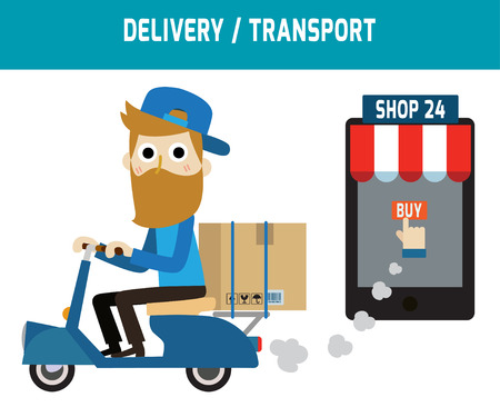 ordering: online ordering and fast delivery service.Goods delivery man hipster is riding  motorbike.people character graphic.Flat icon modern design style vector illustration ecommerce business concept.