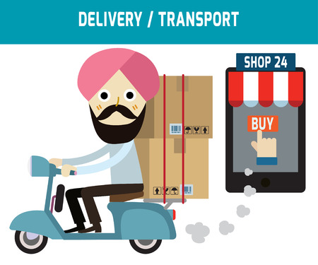 ecommerce: online ordering and fast delivery service.Goods delivery man india is riding  motorbike.people character graphic.Flat icon modern design style vector illustration ecommerce business concept.