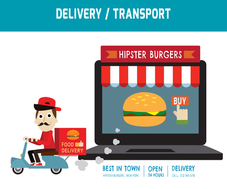 ordering: online ordering and fast food delivery service.Goods delivery man hipster is riding  motorbike.people character graphic.Flat icon modern design style vector illustration ecommerce fastfoodbusiness concept.
