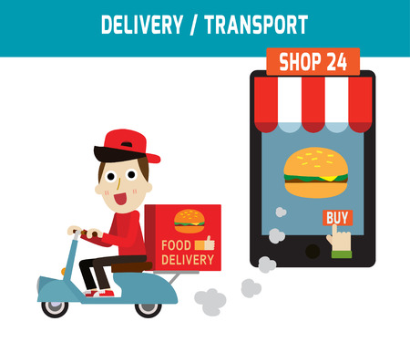 fast food restaurant: online ordering and fast food delivery service.Goods delivery man hipster is riding  motorbike.people character graphic.Flat icon modern design style vector illustration ecommerce fastfoodbusiness concept.