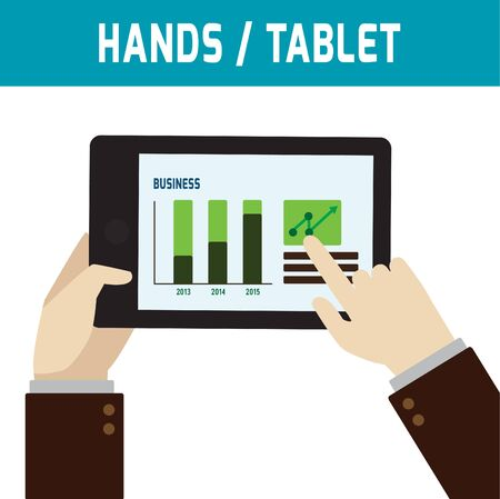 screen: Hand touching screen of tablet computer. ecommerce shopping delivery service.online tablet  graphic concept.Flat icon modern design style vector illustration.