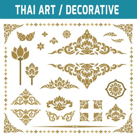 friso: Conjunto de elemento del arte tailandés. Para decorativa motifs.Ethnic Art.gold, marco, decoración, antigüedades, icono plana moderna ilustración vectorial estilo de diseño de concepto arte tailandés de la vendimia. Vectores