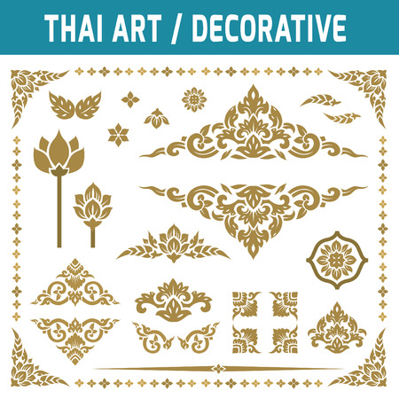 Set of Thai art element. For decorative motifs.Ethnic Art.gold, frame,decorate, vintage, antique,Flat icon modern design style vector illustration Thai art concept. Çizim