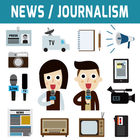 press conference: News journalism television radio press conference concept, journalism character.Flat icon modern design style vector illustration concept. Illustration
