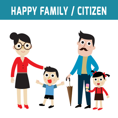 modern parents: Happy family. Parents and kids.father and mother.daughter and son. girl and boypeople character.Flat icon modern design style vector illustration concept. Illustration