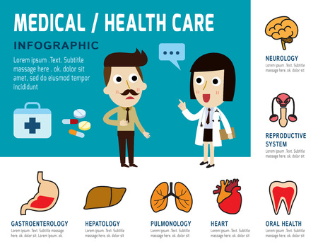 의료 현대 평면 아이콘과 환자 만화 캐릭터와 의사의 의료, 전단지 및 웹 사이트, 잡지 요소 배너 디자인, 벡터 일러스트 레이 션의 집합 의료 인포 그 일러스트