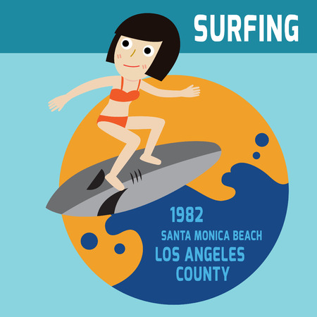 sport woman: Surfing. surfer woman. vector characterin this summer.people character.Flat icon modern design style  illustration sport concept.