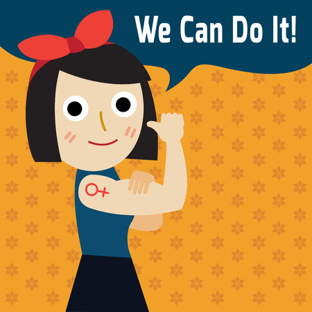 We can do it.Modern design inspired by classic american poster.cartoon woman with can do attitude.symbol of female power and industry.