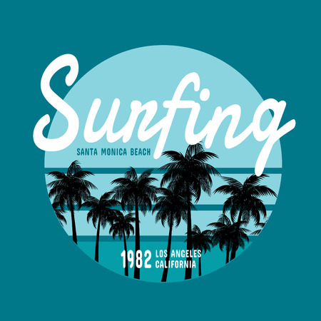 summer wear: California surf illustration, vectors, t-shirt graphicssurfing apparel t shirt fashion design, summer beach palm tree tee graphic,typographic art, state west coast travel souvenir