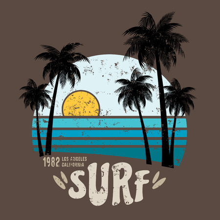 tee: California surf illustration, vectors, t-shirt graphicssurfing apparel t shirt fashion design, summer beach palm tree tee graphic,typographic art, state west coast travel souvenir