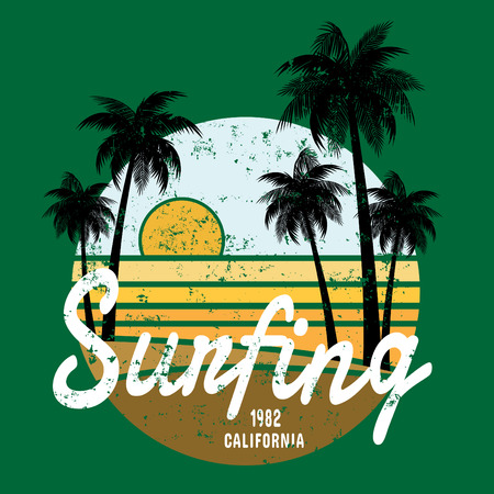 sun beach: California surf illustration, vectors, t-shirt graphicssurfing apparel t shirt fashion design, summer beach palm tree tee graphic,typographic art, state west coast travel souvenir