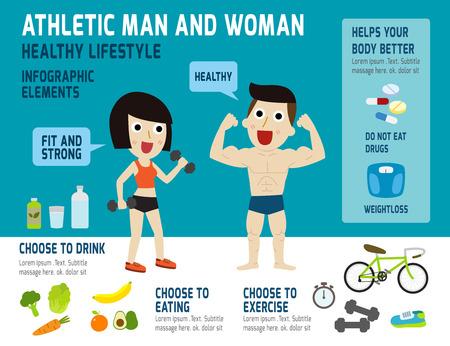 deportes caricatura: Atl�tico hombre y mujer antes de hacer ejercicio f�sico, alimentaci�n sana y ejercicio, la salud elementos infogr�ficos concepto, personaje de dibujos animados personas del vector, plano iconos modernos, ilustraci�n, dise�o,