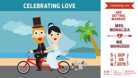 married couples: groom and bride character wedding invitation card template . vector illustration.spouse cyclists bike,