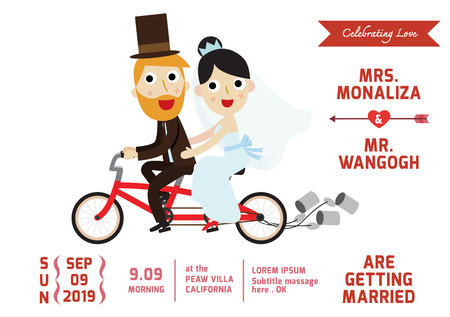 bride dress: groom and bride character wedding invitation card template . vector illustration.spouse cyclists bike,
