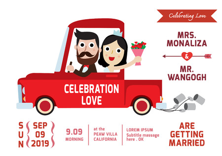 happy driver: groom and bride character wedding invitation card template . vector illustration.spouse driver pickup truck