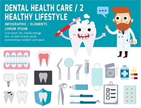 dental clinic: Dental problem health care,health elements  infographic, dental concept,man dentist cartoon character,vector flat modern icons design illustration, Illustration