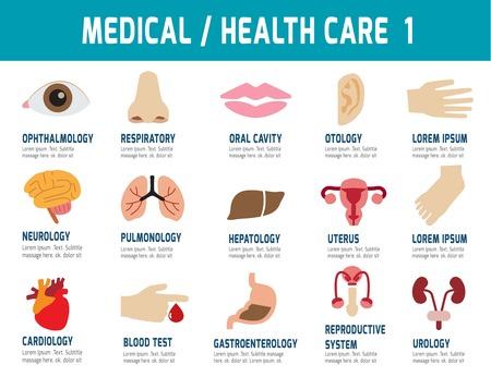 Medical Health Care.flat moderne iconen, vector, elementen ontwerp voor flyer, website, tijdschrift, banner, presentatie, brochure, illustratie Stock Illustratie