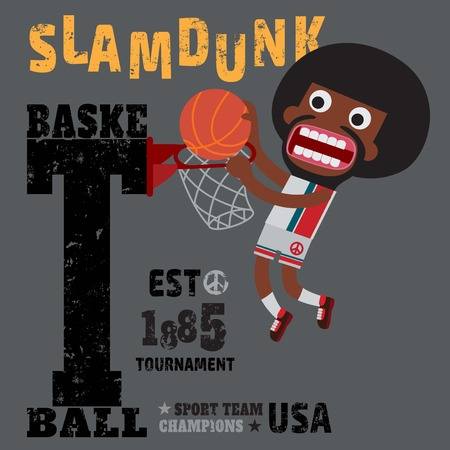 dunking: basketball, usa winner world champion 1885,funny sport character cartoon typography, t-shirt graphics, vectors