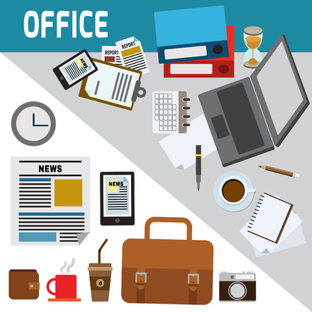 business equipment: business tools,icons infographic elements,concept,office things and equipment,finance and marketing objects,flat modern icons,vector, illustration, Illustration