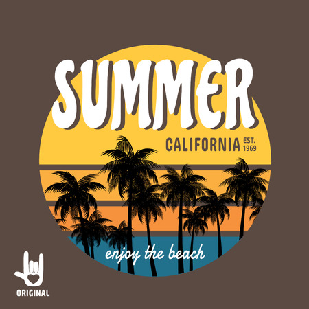 summer. California surf illustration, vectors, t-shirt graphics California apparel t shirt fashion design, summer beach palm tree tee graphic,typographic,art, state west coast travel souvenir Vectores