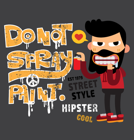 dirty t shirt: happy hipster man  starting to draw a graffitifunky sport character cartoon typography, t-shirt graphics, vectors