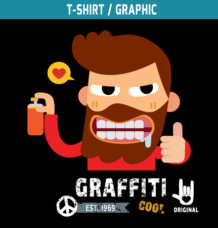 fashion design: graffiti hipster.illustration, vector, t-shirt graphicsfunky funny apparel t-shirt fashion design, graffiti man character cartoon,t- graphic, Illustration