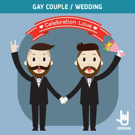 boda gay: parejas de la boda gay holding hands.spouse, la gente par de dibujos animados, ilustración vectorial, tarjeta de invitación de la boda,