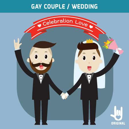 mariage: les couples de mariage gay détenant hands.spouse, marié gens de bande dessinée de caractère en couple, illustration vectorielle, modèle de mariage de carte d'invitation, Illustration