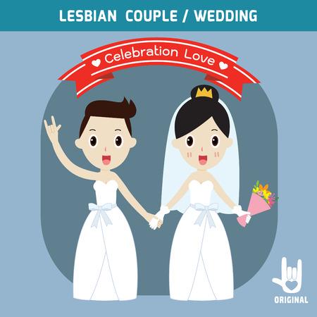 boda gay: parejas de la boda de lesbianas que sostienen hands.spouse, la gente de novia de dibujos animados par, ejemplo del vector, plantilla de tarjeta de invitación de la boda,