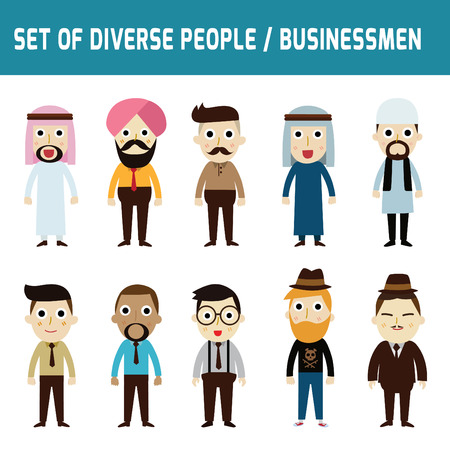 nationalities: Set of full body diverse businessmen.Different nationalities and dress styles.isolated on white background.people character cartoon concept. flat modern design.asian,arab,african,european,india,american,china,