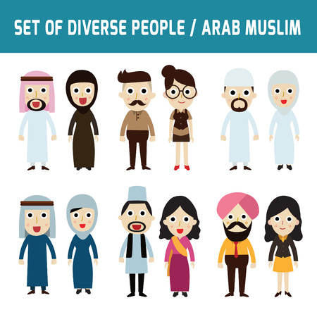 working dress: Set of full body diverse business people.Different nationalities and dress styles.isolated on white background.people character cartoon concept.flat modern design.arab,muslim, islam,india,uae,saudi,qatar, kuwaiti,arabic, Illustration