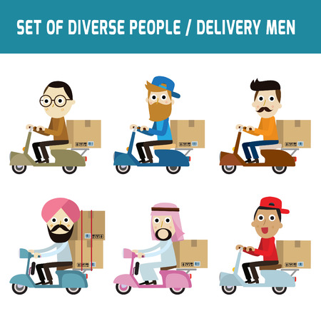 nationalities: Set of full body diverse Delivery man.Different nationalities and dress styles.isolated on white background.people character cartoon concept.flat modern design.asian,arab,african,european,india,american,china,