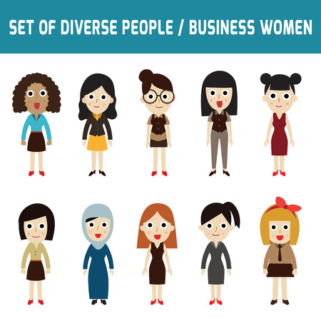 Set of full body diverse business women.Different nationalities and dress styles.isolated on white background.people character cartoon concept. flat modern design.asian,arab,african,european,india,american,china,