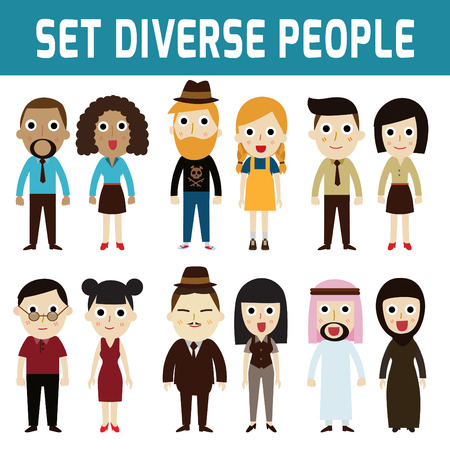 nationalities: Set of full body diverse business people.Different nationalities and dress styles.isolated on white background.people character cartoon concept.flat modern design.asian,arab,african,european,india,american,china,