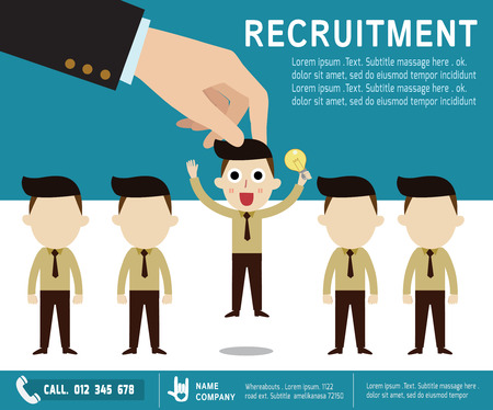 chosen: recruitment.  Picking the right candidate professional . Isolated on backgroundFlat design vector illustration concept.