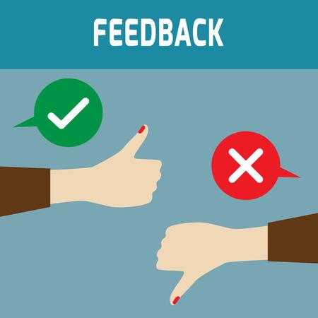 긍정적 인 의견과 부정적인 의견. 아이콘 디자인, 그림, 피드백의 개념, 위아래로 엄지 손가락 vectorflat