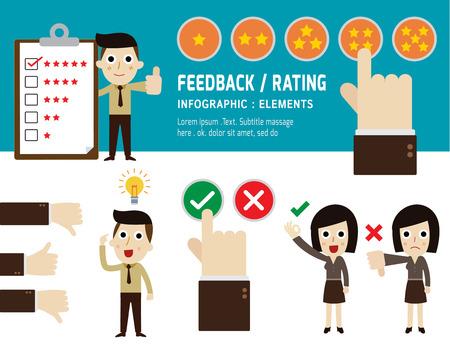 retroalimentación y calificación de servicio al cliente, vector, diseño iconos plana, ilustración, concepto de comentarios de los clientes, personaje de dibujos animados de personas, la mano de elegir estrellas crítica positiva,